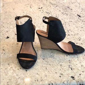 Halogen Black Suade Wedge Sandal